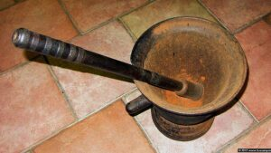 In 2020 this is the old bronze mortar to pulverize liqueurs ingredients BY HAND