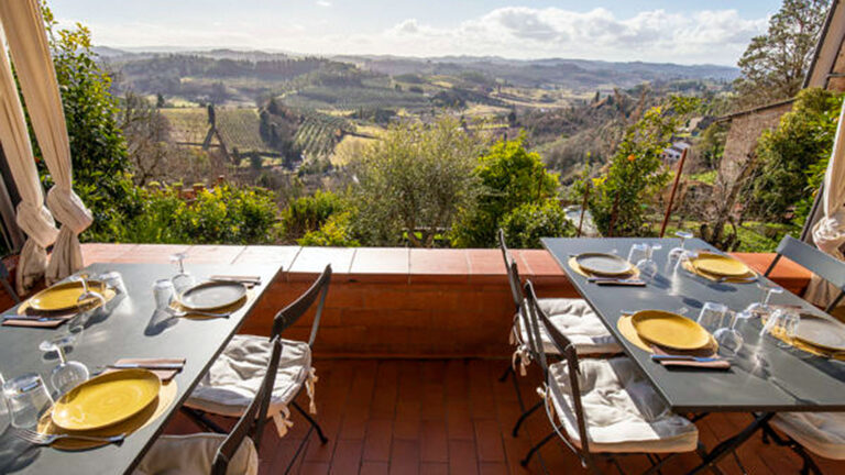 Marvellous Tuscan landscape from the restaurant inside the butcher's shop