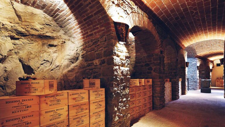 Artisanal Tuscan chocolate and WS TOP 100 wines meet in this underground cellar