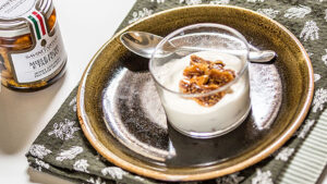 Compote of honey, truffles and figs on cottage cheese mousse