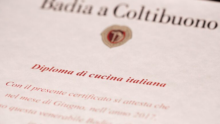 Show your Tuscan Cooking Diploma by saying I was cooking in a 1.000 years old Abbey